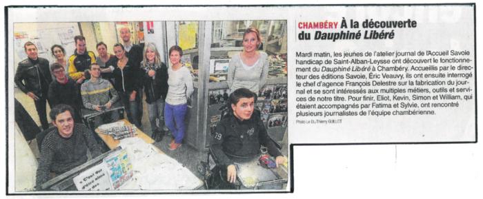 Les Reporters de l'Accueil Savoie Handicap à la découverte du Dauphiné Libéré