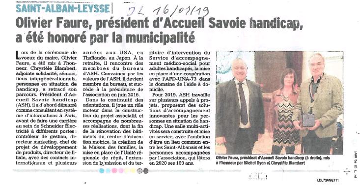 Le Président d'Accueil Savoie Handicap est honoré par la municipalité de Saint Alban Leysse