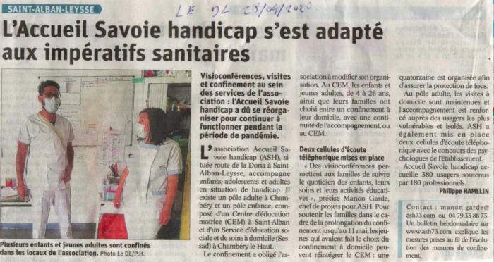 Le Dauphiné Libéré parle de l'organisation d'Accueil Savoie Handicap en période de pandémie