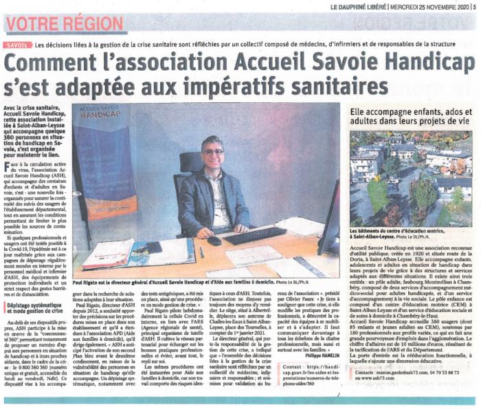 Accueil Savoie Handicap, une association au cœur de la gestion de la crise sanitaire, au plus près des personnes en situation de handicap